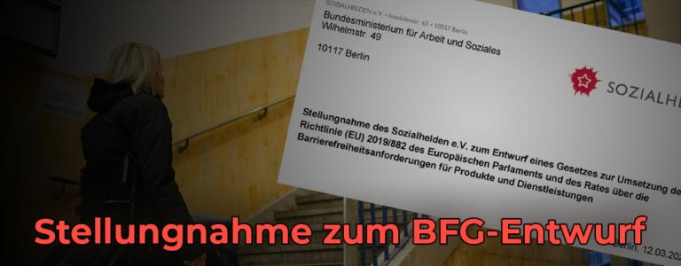 Frau mit Rollstuhl vor Treppe. Rechts ein Schreiben der Sozialhelden. Text: Stellungnahme zum BFG-Entwurf